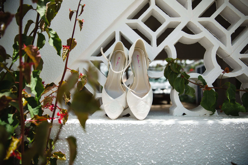 wedding shoes in garden