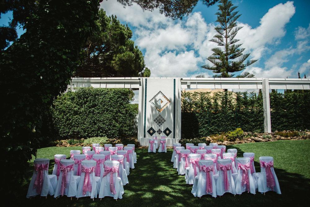 wedding ceremony in garden of vilamarques