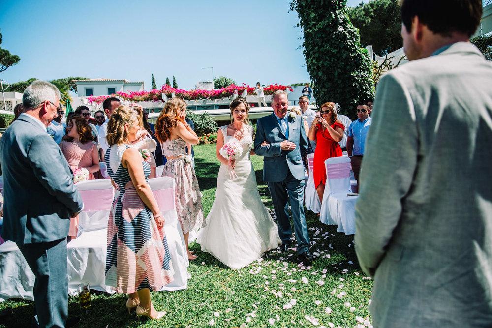 vilamoura bride walking down aisle
