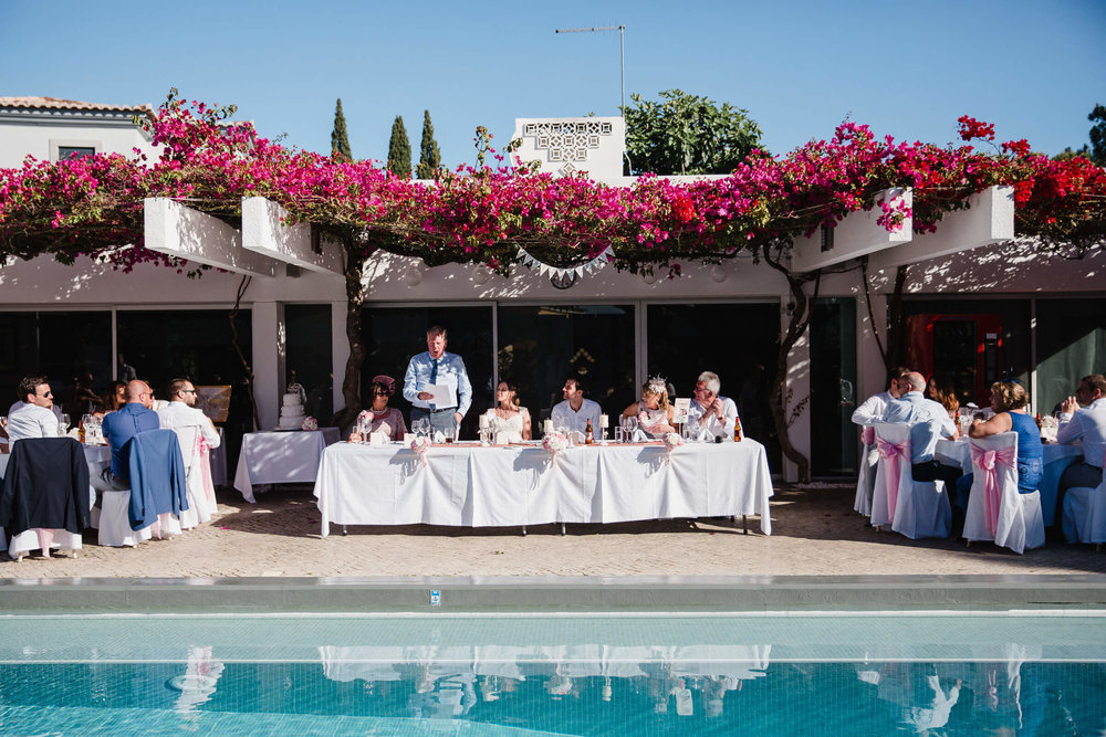 head table of wedding breakfast by the pool