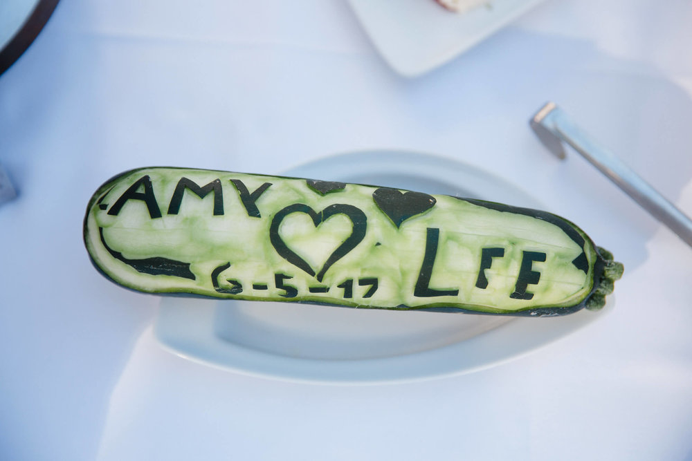 amy and lee cucumber with wedding date