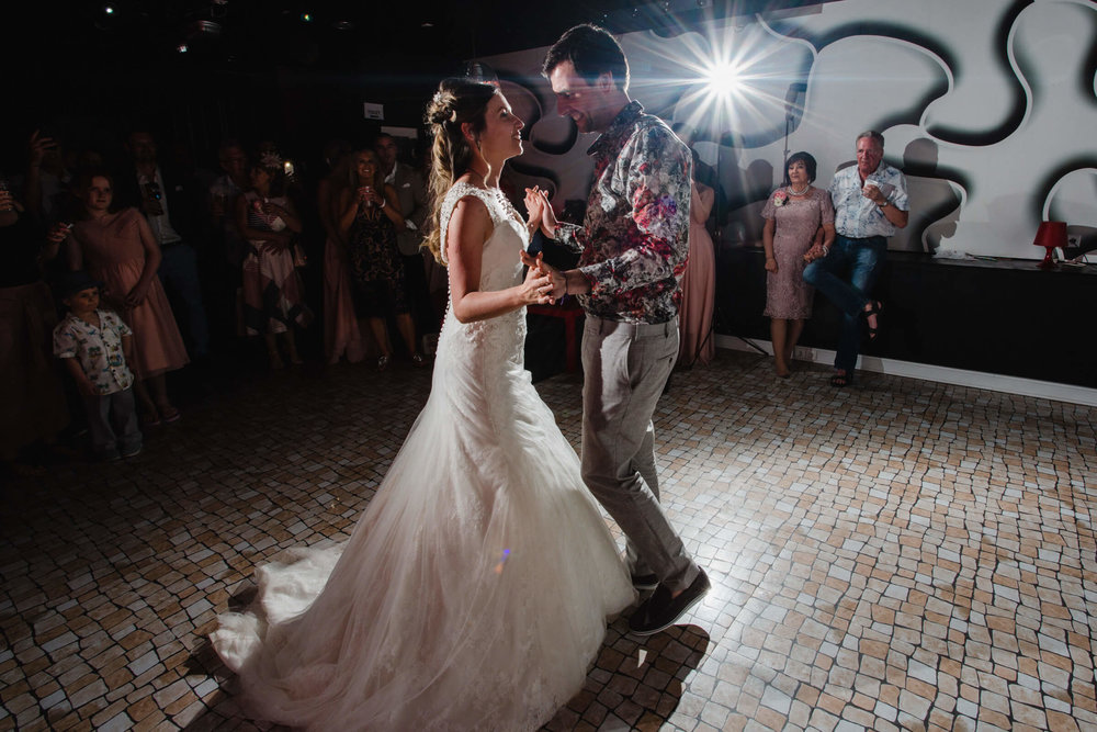wide angle photograph of first dance
