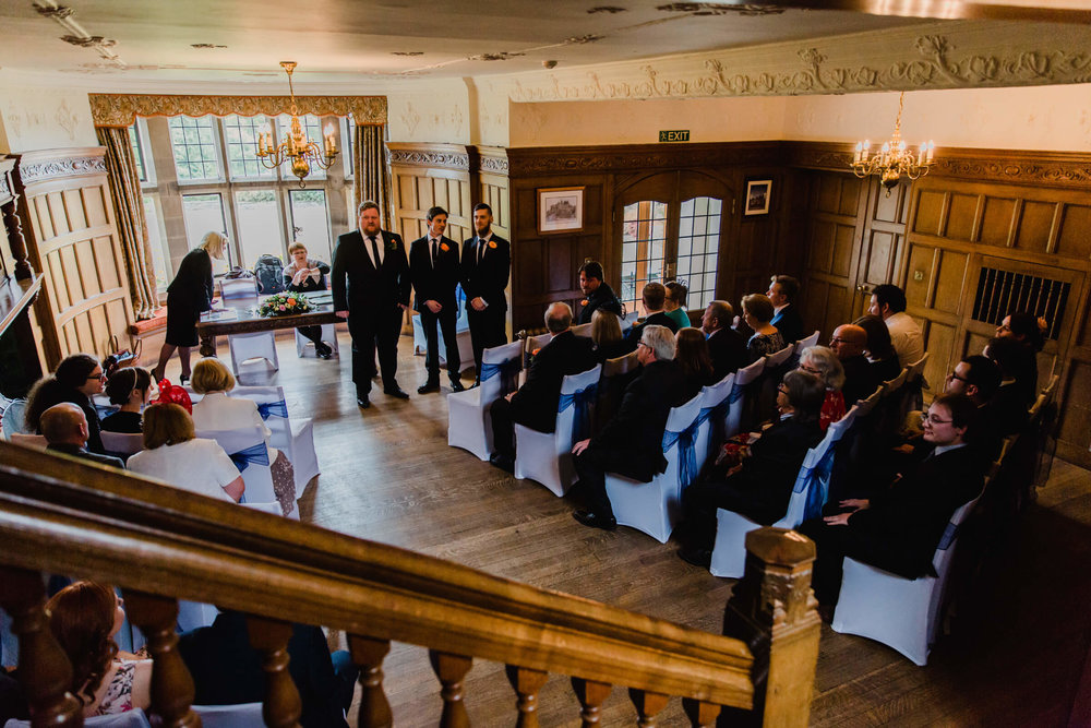 ceremony room at Cragwood Country House with guests sat down