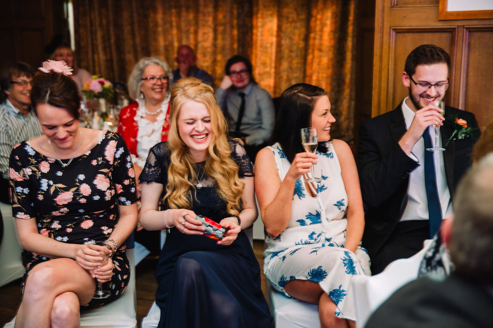 bridesmaid in hysterics at speech