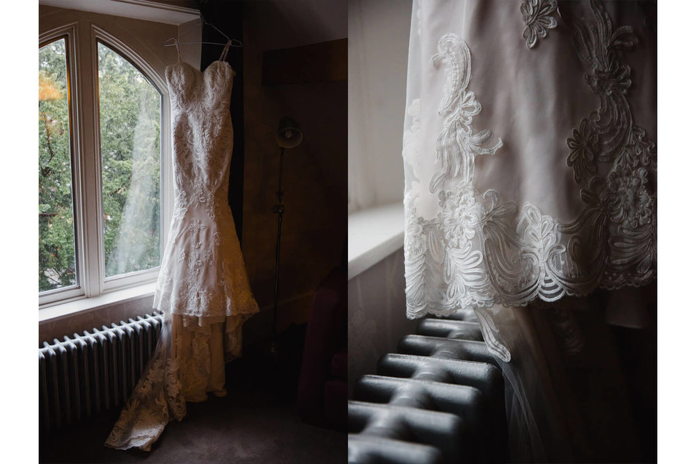 Ian Stuart Wedding Dress hung up in the window and dress detail