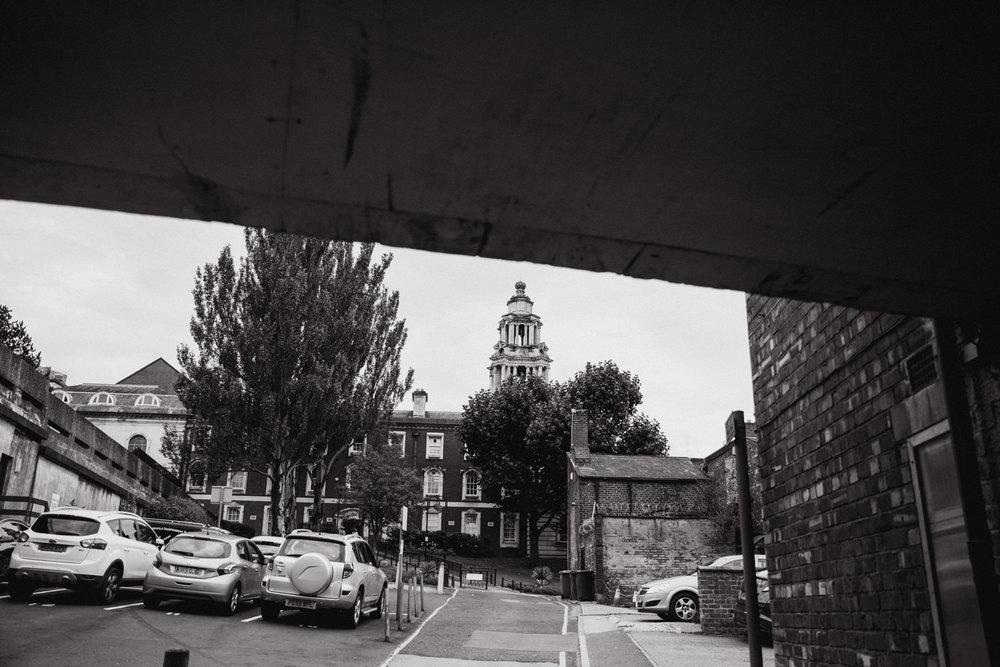black and white photograph of stockport town hall spire