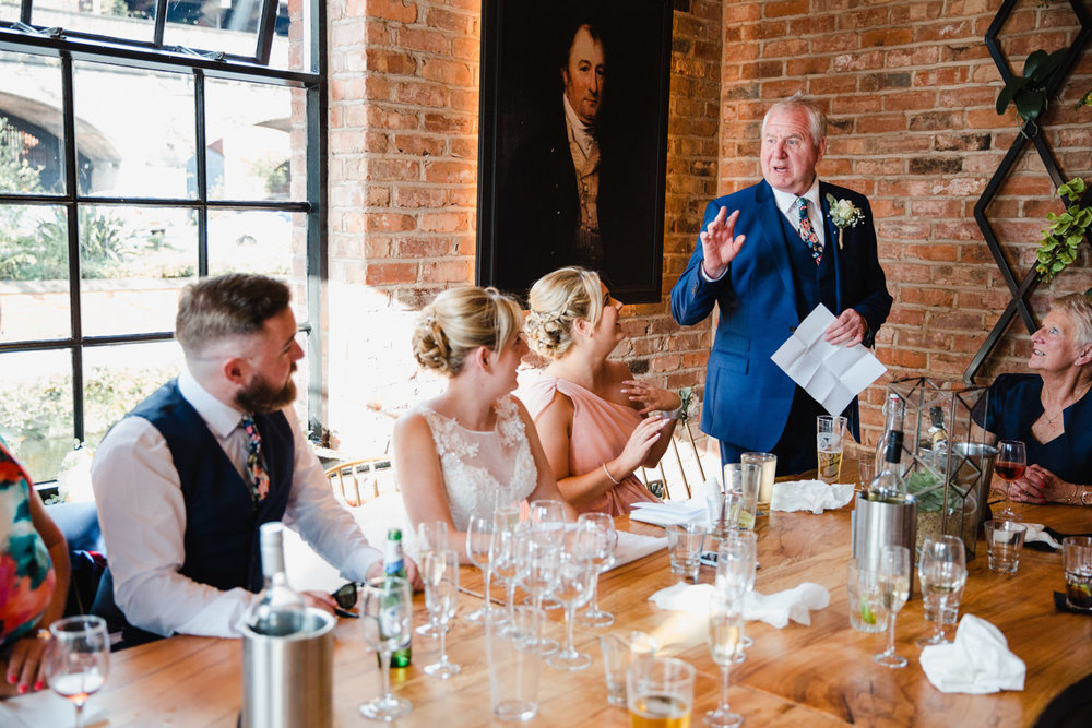 father of the bride giving his speech at the castlefield rooms