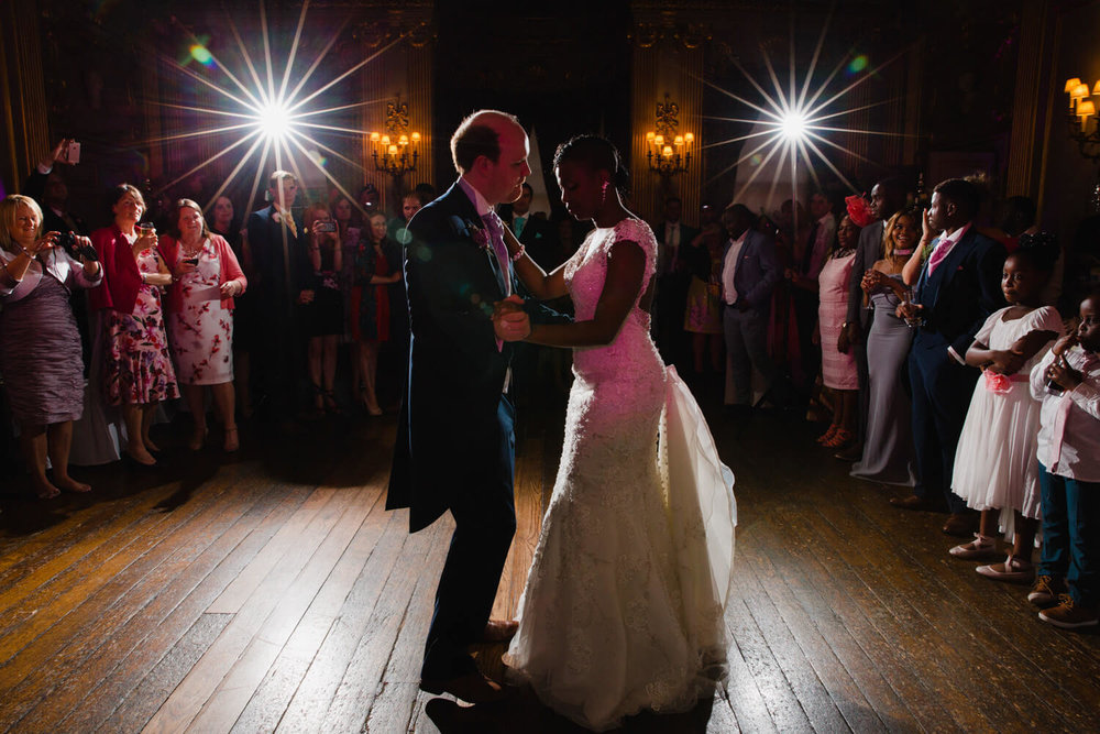 first dance of bride and groom at knowsley hall