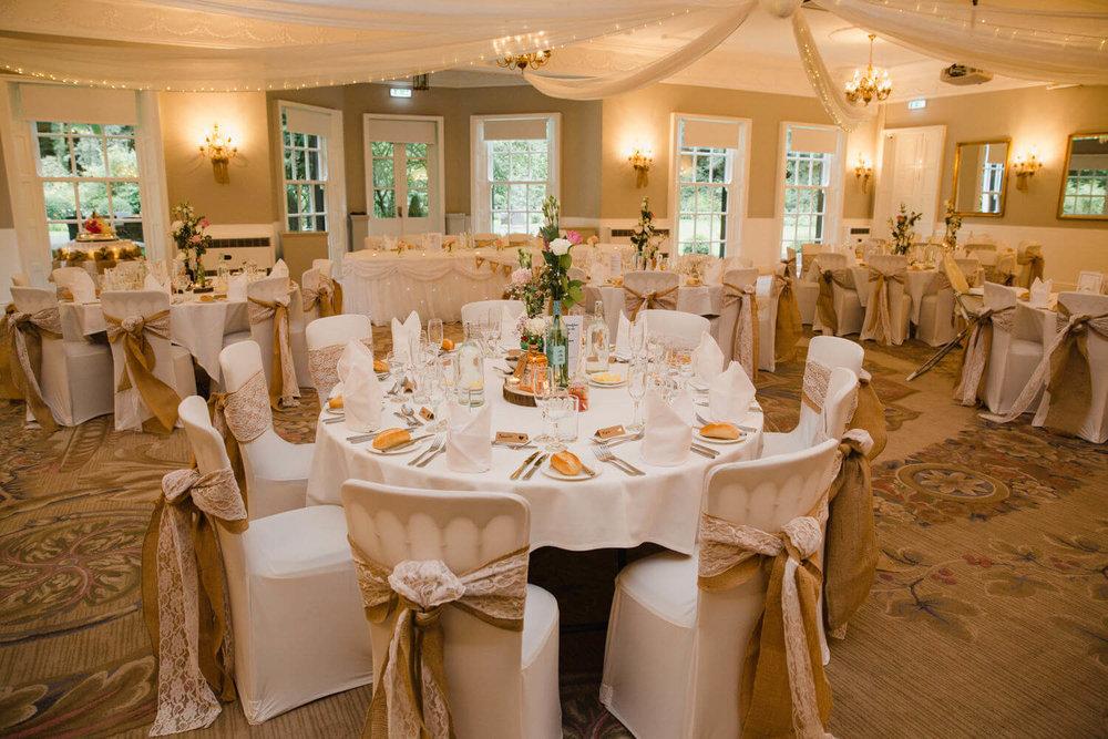 Wedding Breakfast Room set up for meals