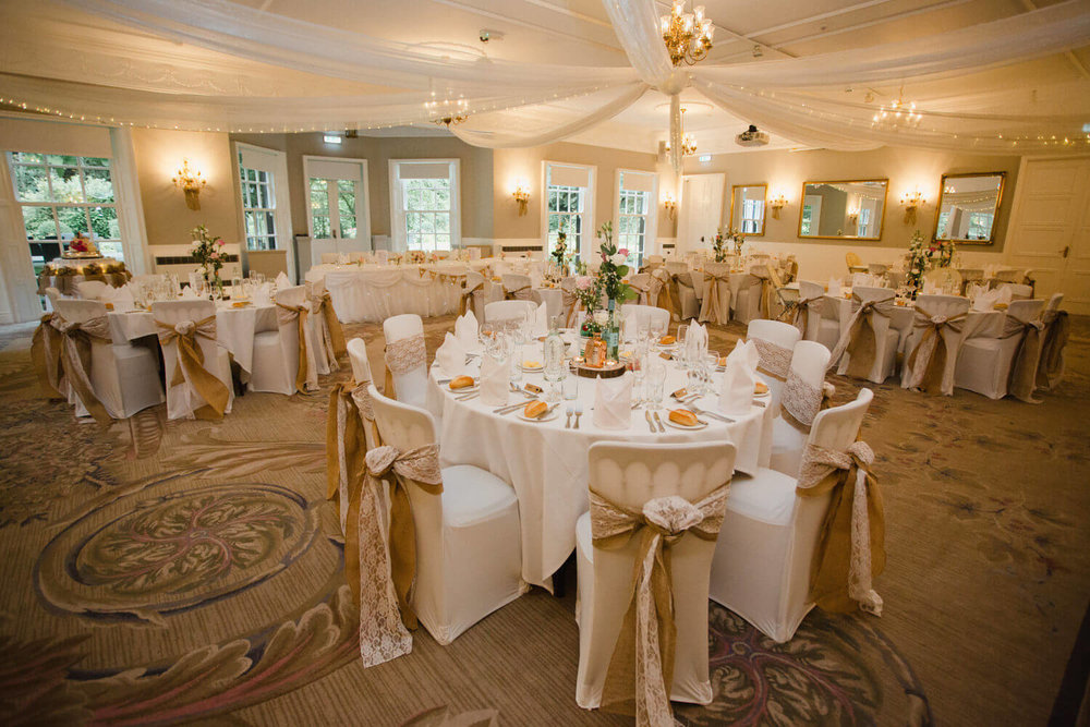 wide angle photograph of wedding breakfast room set up for meal