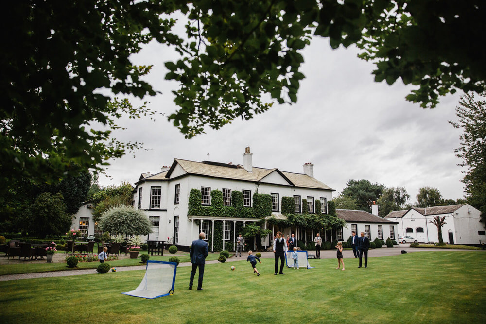 lawn games outside statham lodge wedding venue