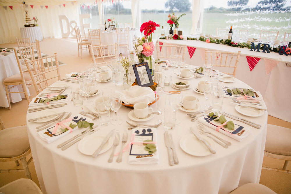 wide angle of wedding breakfast table layout