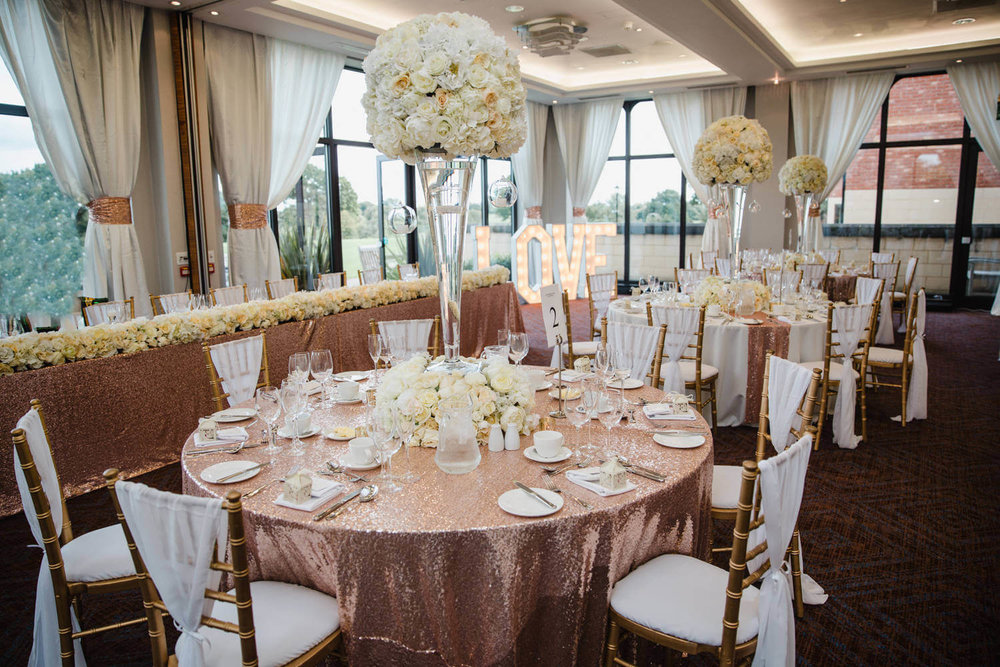 wide angle lens photograph of wedding breakfast room