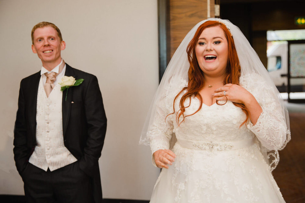 bride first reaction to seeing wedding breakfast room at rookery hall
