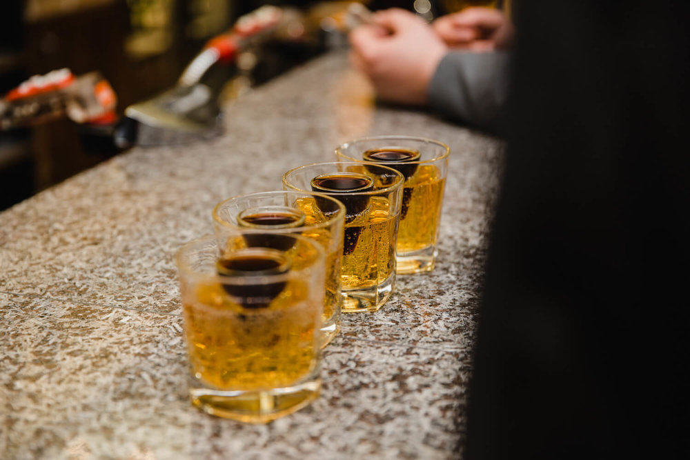 jagerbomb line of drinks at the bar