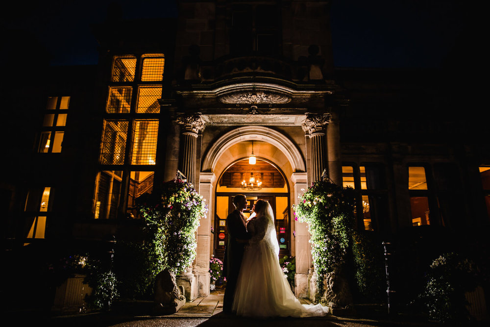 Night lit off camera flash with wide angle lens light up photograph at rookery hall