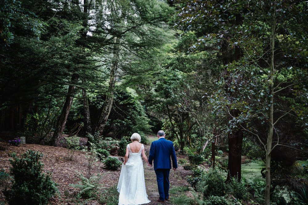 photograph taken from behind couple into woodland gardens