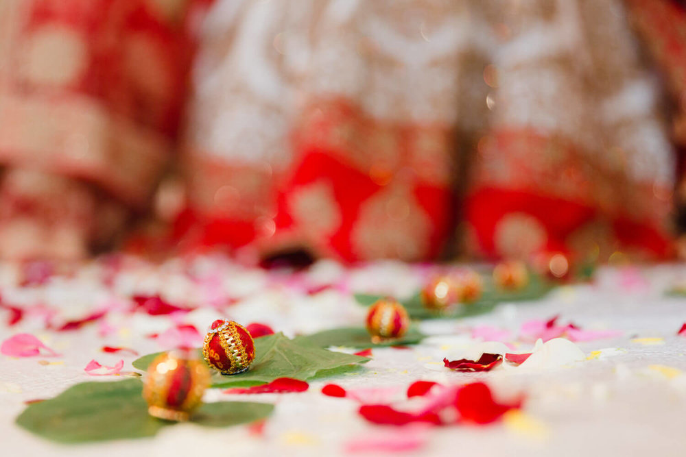 nut balls on leaves as part of hindu wedding tradition