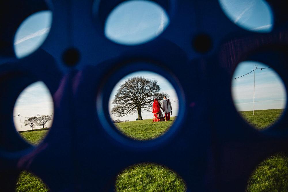 Heaton House Farm Oak tree portrait of couple for their Wedding Photography