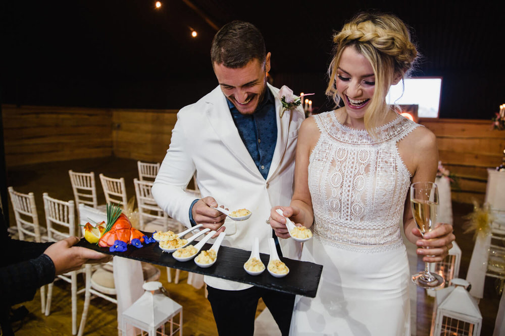 newlyweds offered canapés