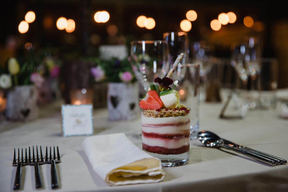 top table weddings fruit crumble on table