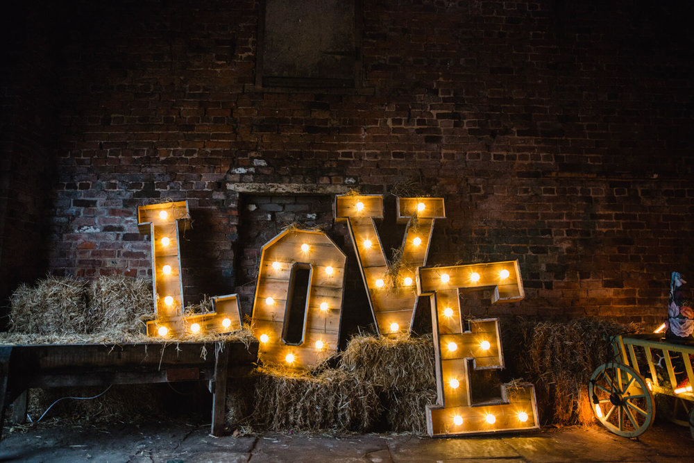Stock Farm Love Lettering in Barn