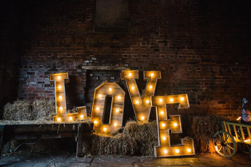 Stock Farm Love Lettering in Barn