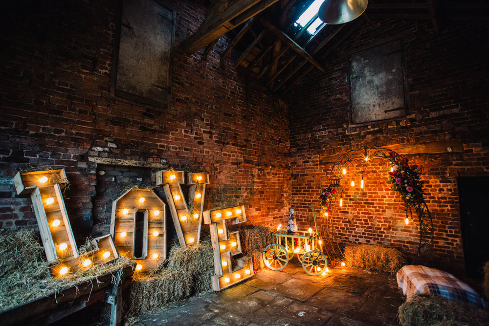 Love Lights the Way Light Up Lettering, Precious Things Event Styling and Marie Antoinette Cakes transform the wedding barn