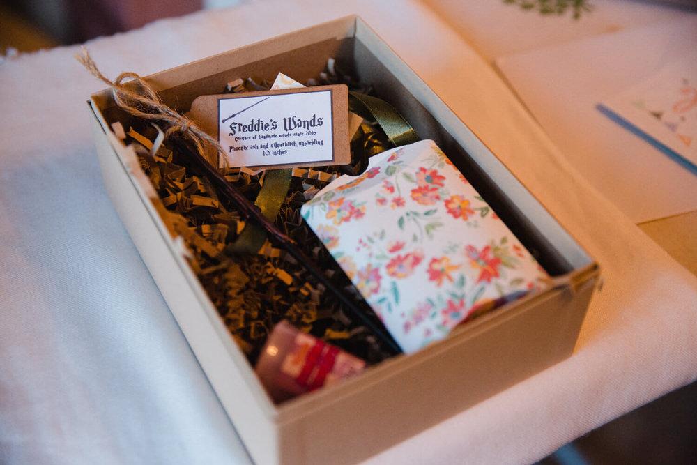 bridesmaid wedding gift box with wand