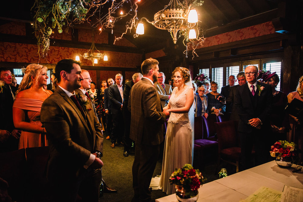 wide angle lens photograph of belle epoque wedding ceremony