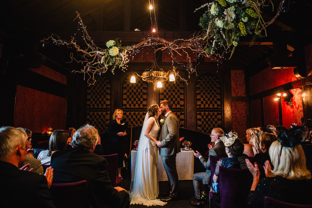 first kiss of bride and groom at Belle Epoque Knutsford