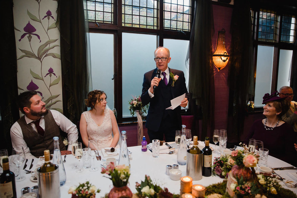 father of bride giving speech