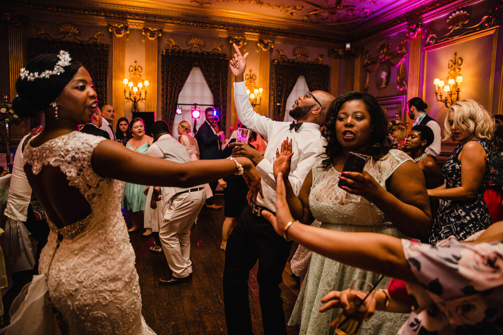 Wedding Guests dancing at Knowsley Hall