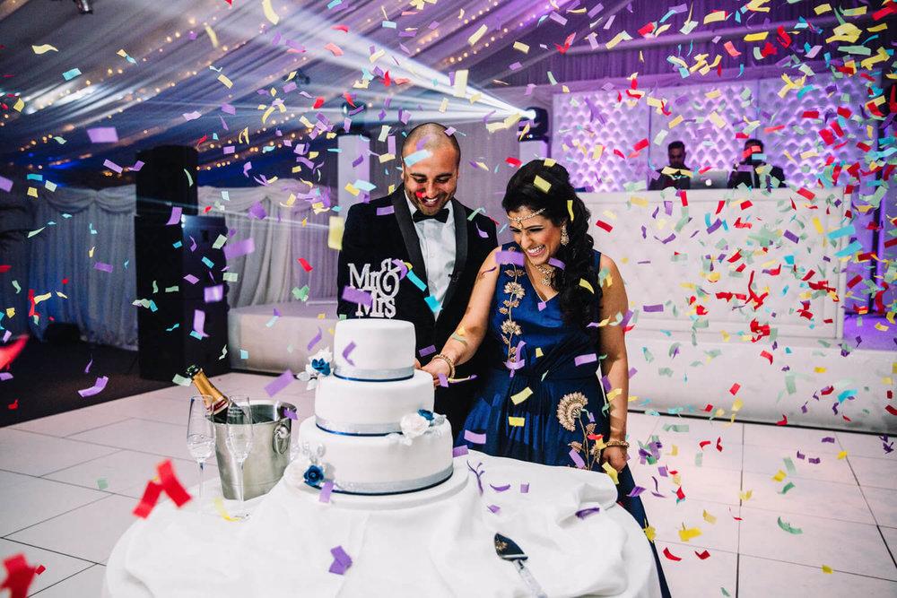 bride and groom confetti cannon