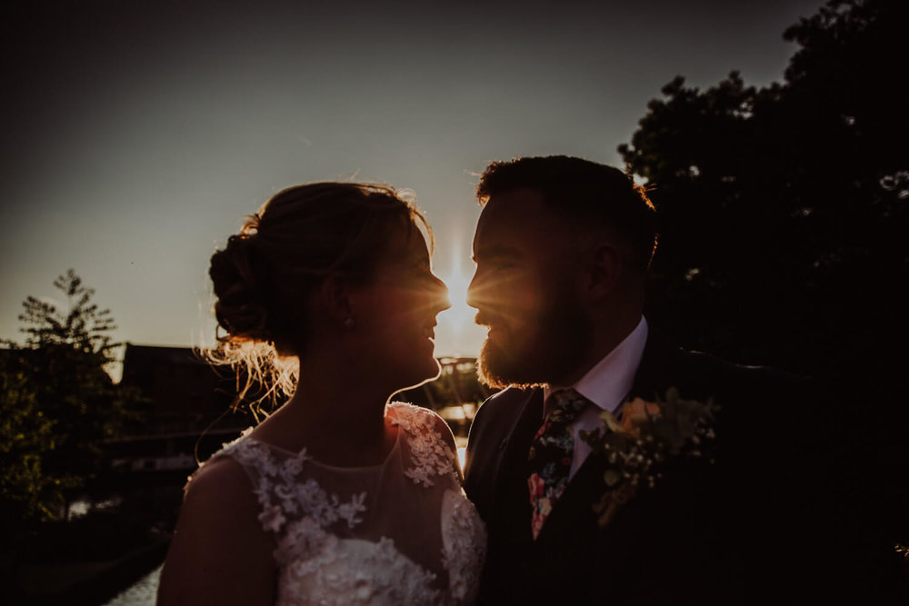 bride and groom portrait at castlefield rooms