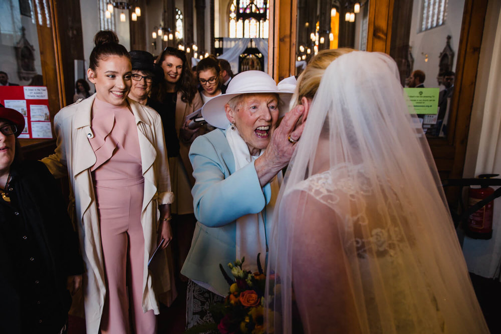 grandma shares moment with bride after ceremony