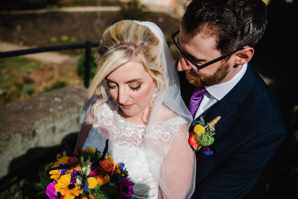top down intimate photograph of bride and groom portrait at quarry bank mill