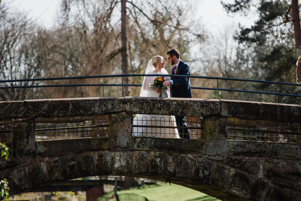 wedding couple portrait at quarry bank mill