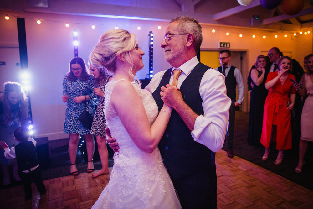 father and bride dance at quarry bank mill wedding