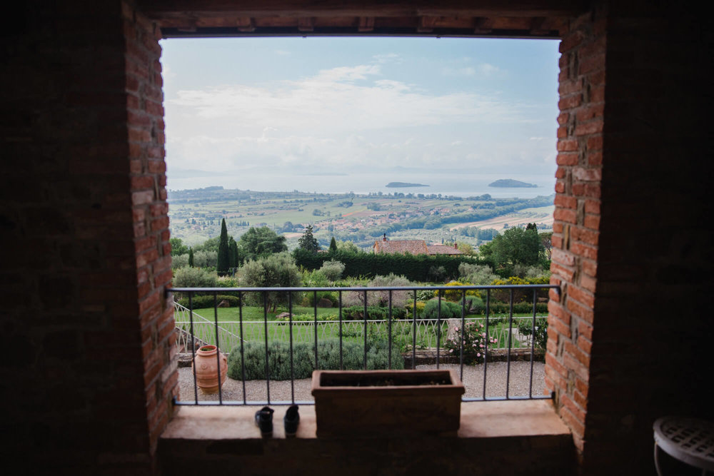 Landscape photograph of tuscany countryside taken from balcony