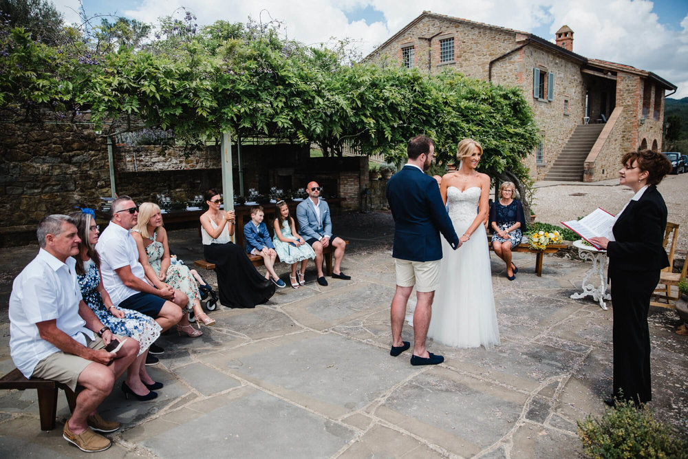 wide angle lens photograph of wedding ceremony on balcony of tuscany villa