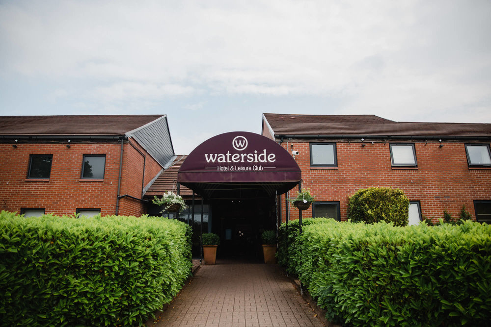 Wide angle photograph of Waterside Hotel wedding entrance