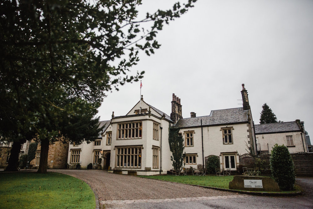 Wide angle lens photograph of Mitton Hall Wedding Venue in Lancashire
