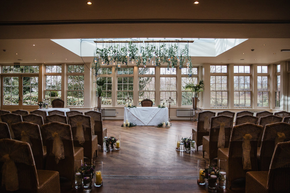 Wide angle lens photograph of Mitton Hall wedding ceremony