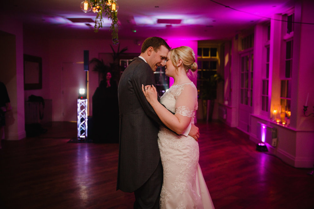 Newlyweds natural first dance together at Mitton Hall