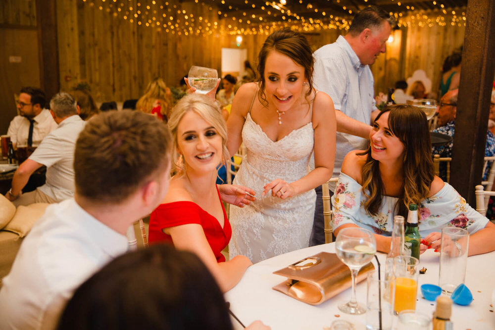 bride mingles with friends