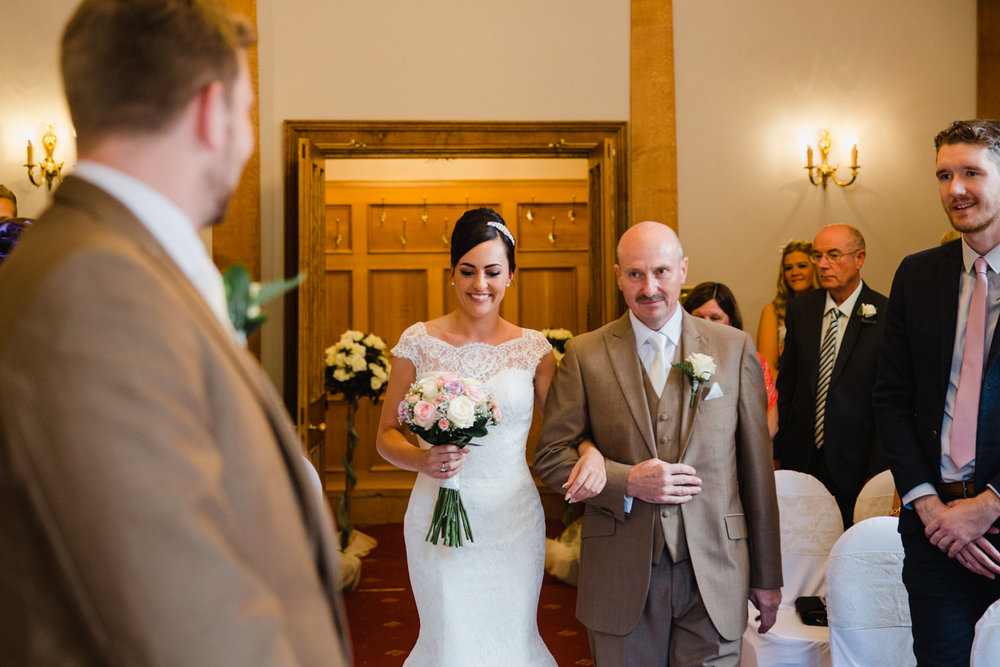 Wedding ceremony in the front room of Willington Hall