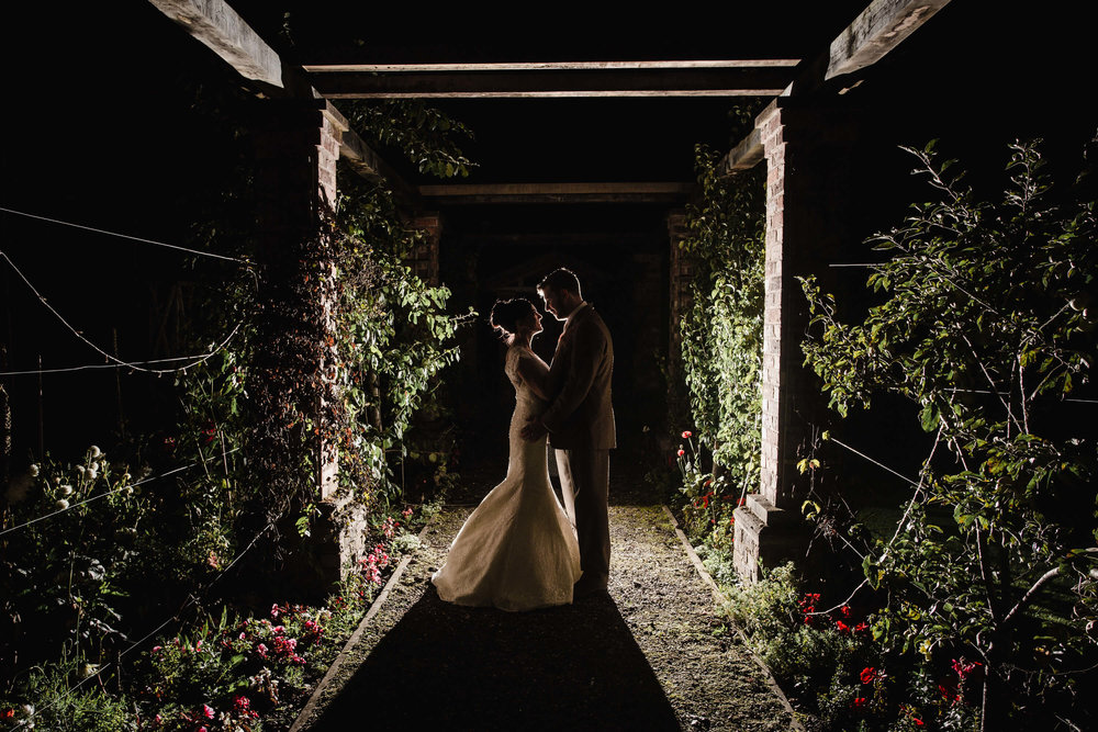 Night lit portraits in the Rose Garden at Willington Hall