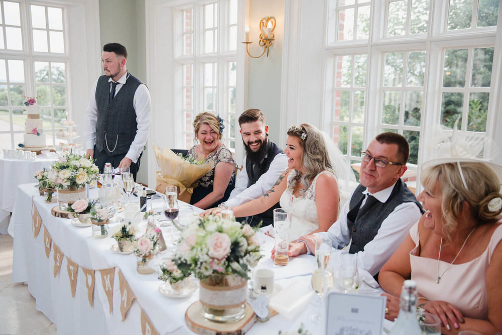 Capturing all of the special moments during the speeches in Willington Hall orangery