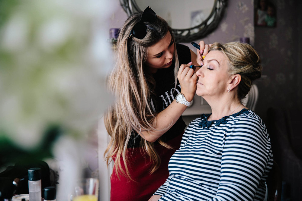 mother of bride having make up applied at 30 James Street